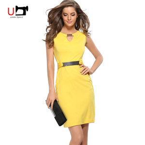 Plus Size Small V-neck Metal Button with Zipper Sexy Women Knee Length Career Dress Work Office Wear