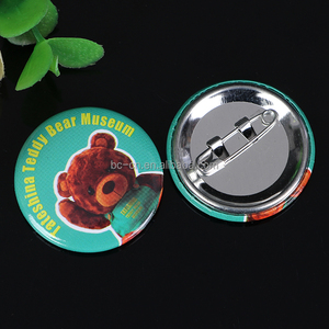 Customized printed metal tin button badge 58mm for sale