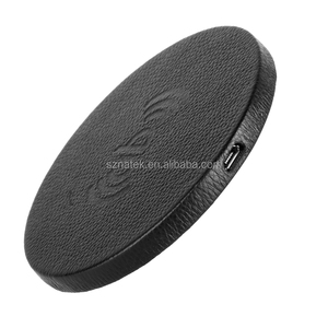 Real Leather 5W Wireless Charger Fast QI Charging Pad Station For Mobile Cell Phone Portable Smartphone Samsung
