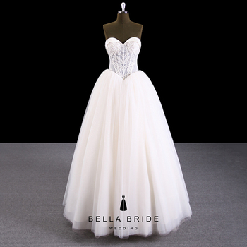 China Guangzhou Manufacturer Factory Whole Strapless Ball Gown Wedding Dress Bling With Sequin