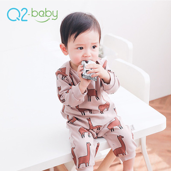 Q2 Baby Korean Style Toddlers Clothes Custom Design Animals Printed