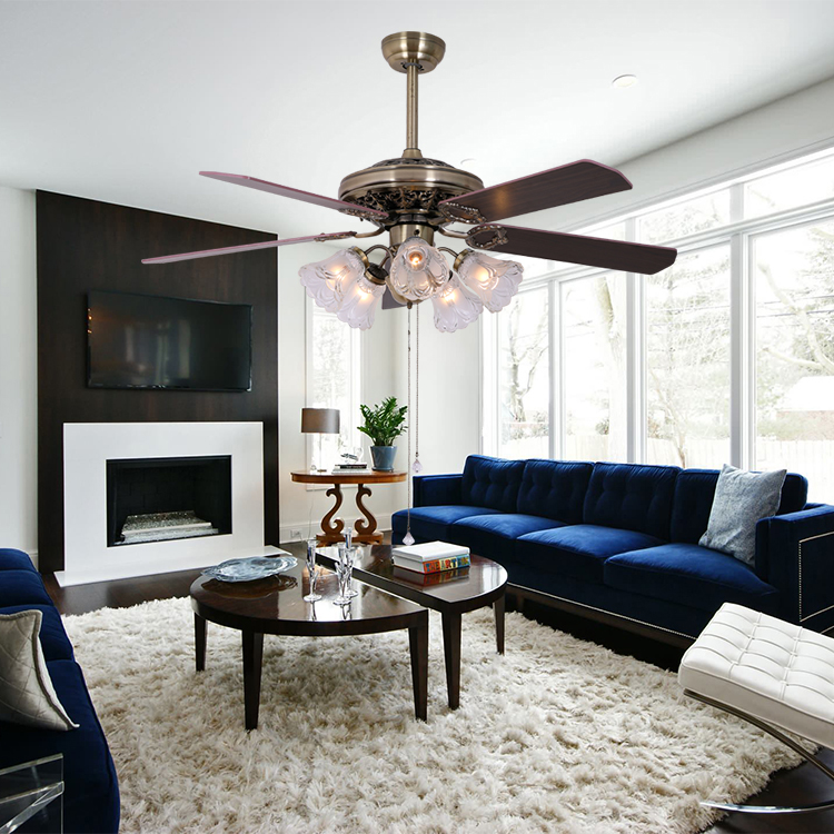 52 inch American style wood blade indoor reverse ceiling fan with light pull cord control