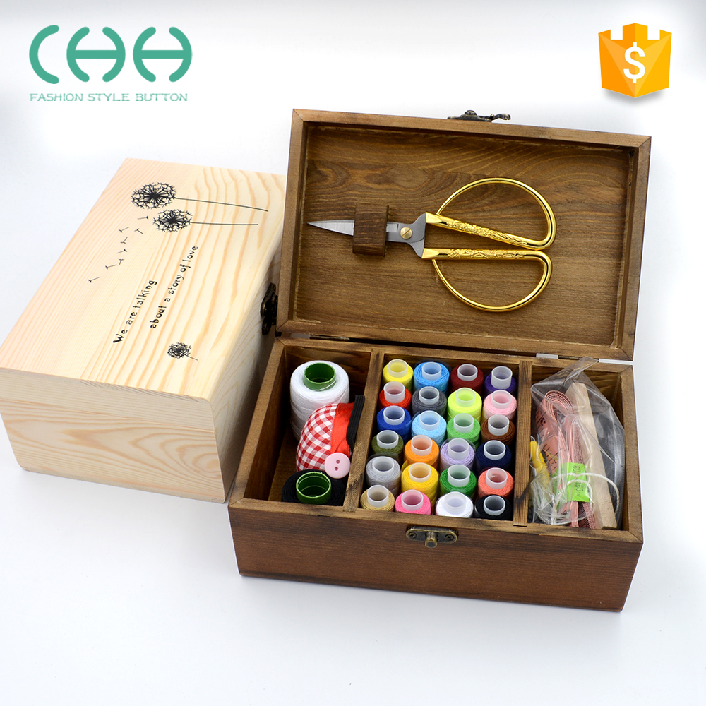 Useful friendly wooden home needle set sewing box