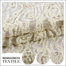 NGY lace handwork embroidery pearls beaded fabric for dresses