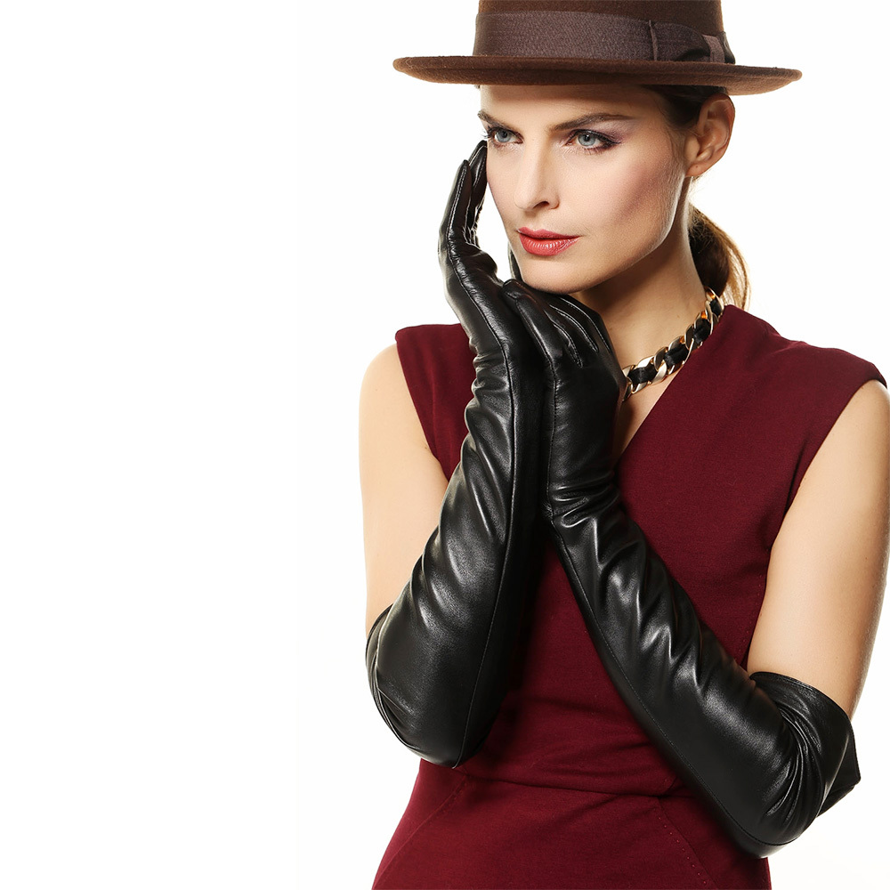 Long black leather gloves prices - Get Quotations Bestselling 58cm Long Sheepskin Leather Gloves Solid Black Women Genuine Leather Gloves Winter Leather Driving Gloves