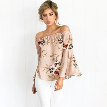 hot sale sexy lady off shoulder mandarin sleeve floral print top women