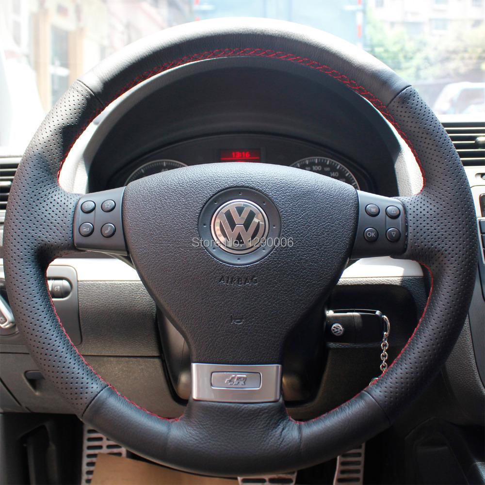 black leather steering wheel cover for volkswagen golf 5 mk5 sagitar magotan vw passat b6 jetta. Black Bedroom Furniture Sets. Home Design Ideas