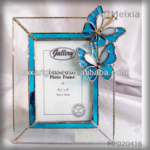 MF020416 butterfly tiffany stained glass photo frame wholesale for home decoration or gift sets
