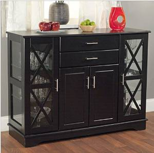 Beautiful Black Wood Buffet Sideboard Cabinet With Glass Display Doors