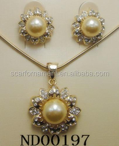 Dubai Gold Jewelry Pearl Set Ranni Haar Pearl Weddingengagement