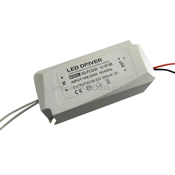 external constant current (12-18)*3W dali led driver 600ma with ce rohs approved