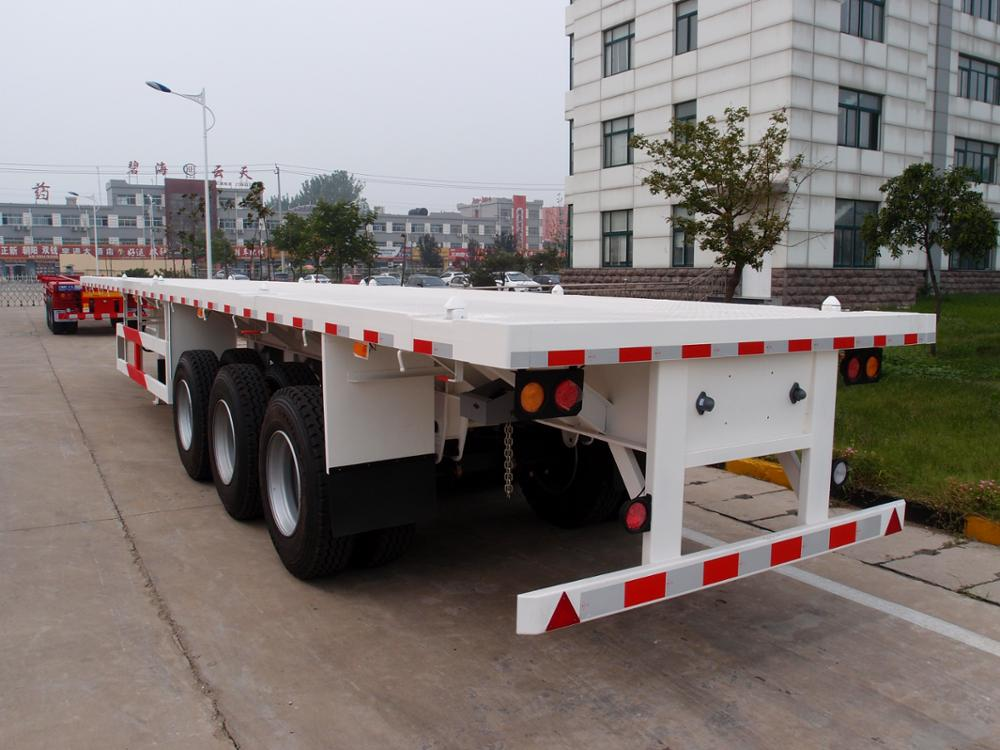 shipping 40ft container transport flat bed trailer 3 axle flatbed semi trailer for sale