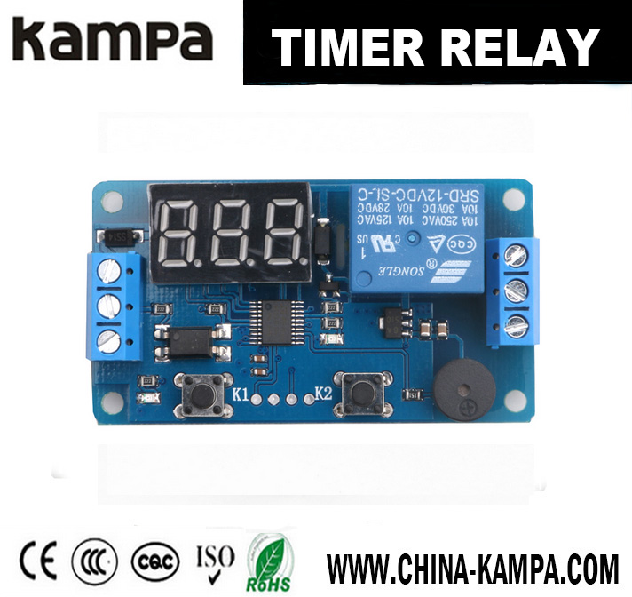 12V Display LED Timer Relay Programmable Digital Readout Module Delay Switch Board with Car Buzzer(2 buttons)