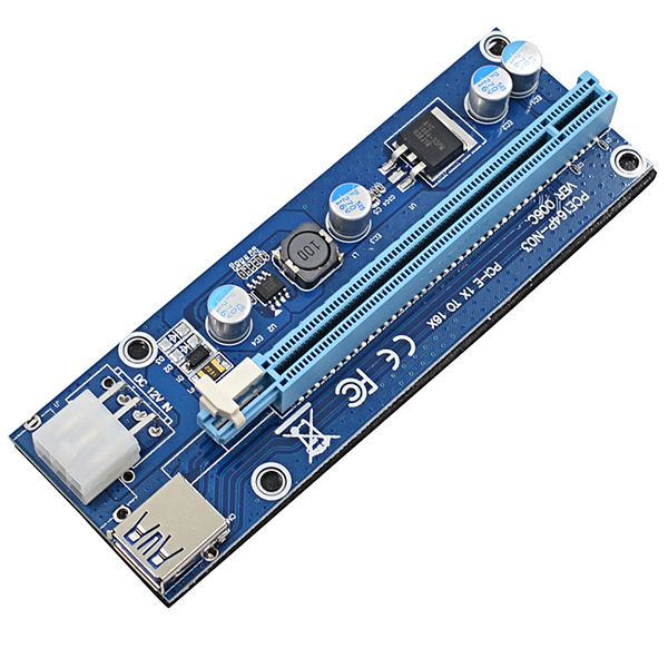 Factory Fast Shipping PCI-E PCI Express Riser 1X to 16X USB 3.0 Converter Card For Bitcoin Mine Ver006C