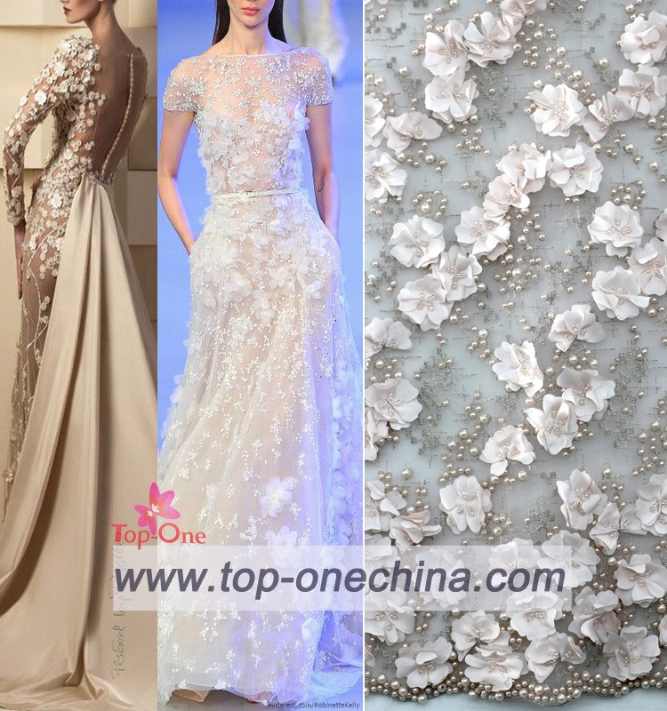 2016 China Suppliers 3d Lace Flower Fabric Wedding /3d Flower Lace Fabric  For Wedding Dress