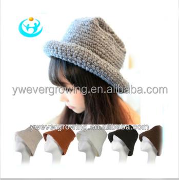 Ladies Wool Felt Rolled Brim Knitting Pattern Hat And Beanie Hat