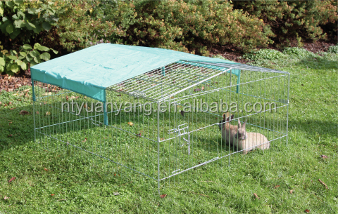 outdoor galvanized metal rabbit hutch with sunshade