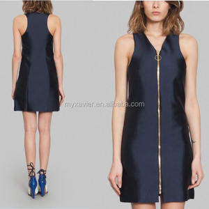 Women dress model front golden zip closure dress women with V-neck collar and sleeveless design women casual one piece dress