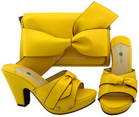 AB8459#1 Top grade quality genuine leather italian shoes and bag set with yellow for ladies evening party