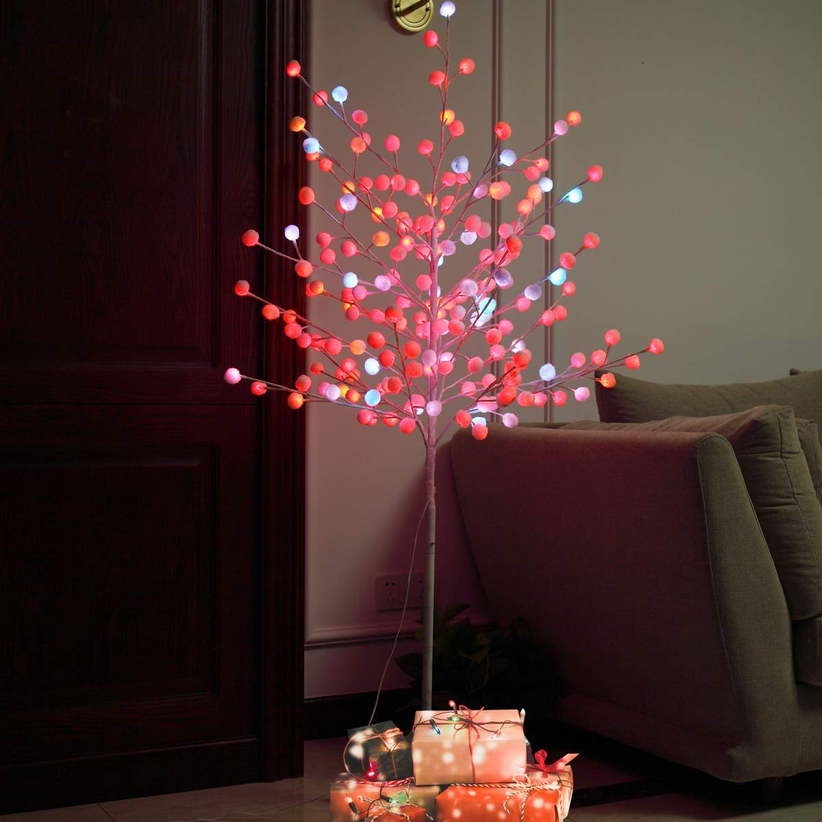 Tobbi Christmas Tree 5 Feet 180LED Snow Tree Colorful Slow Flash Light White Branches for Outdoor and Indoor Use
