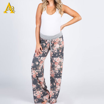 Leisure Maternity Wear Clothes Manufacturers Maternity Loose Printed Pants
