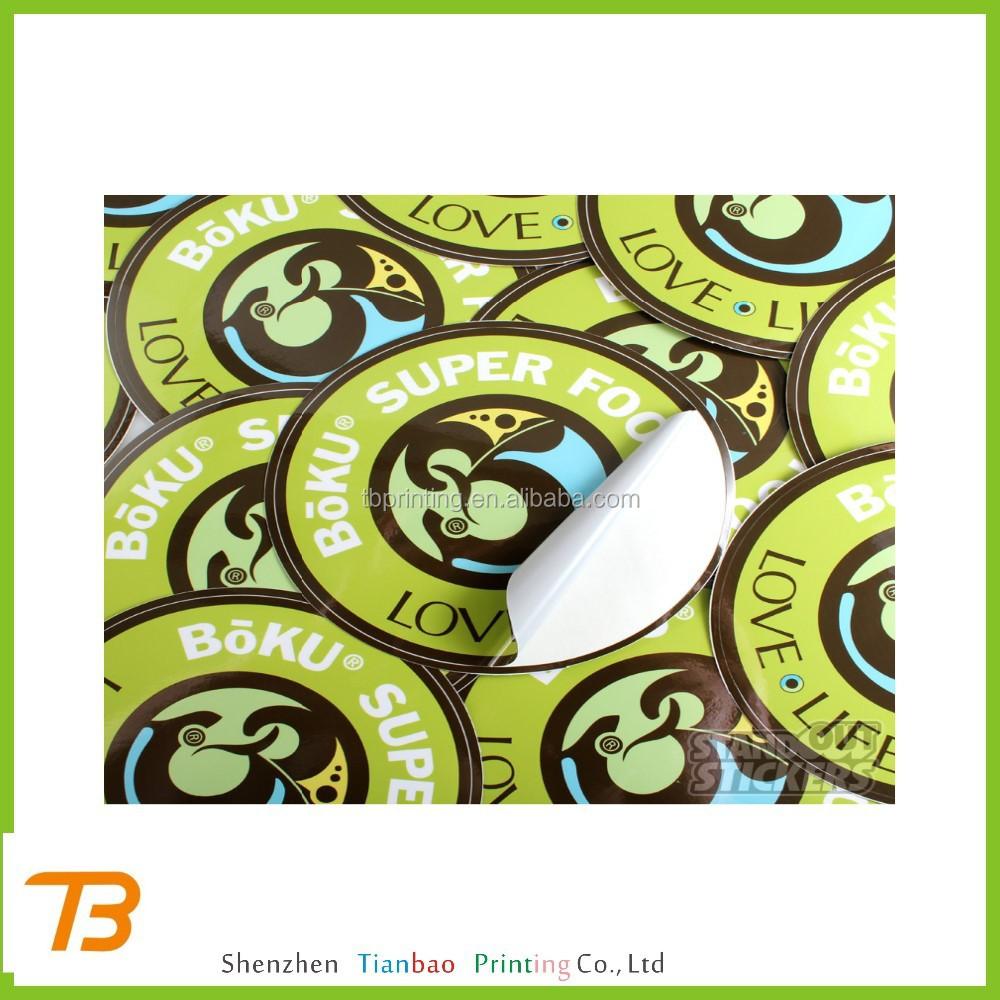 Custom printed plastic round sticker 1 inch round stickers plain round stickers