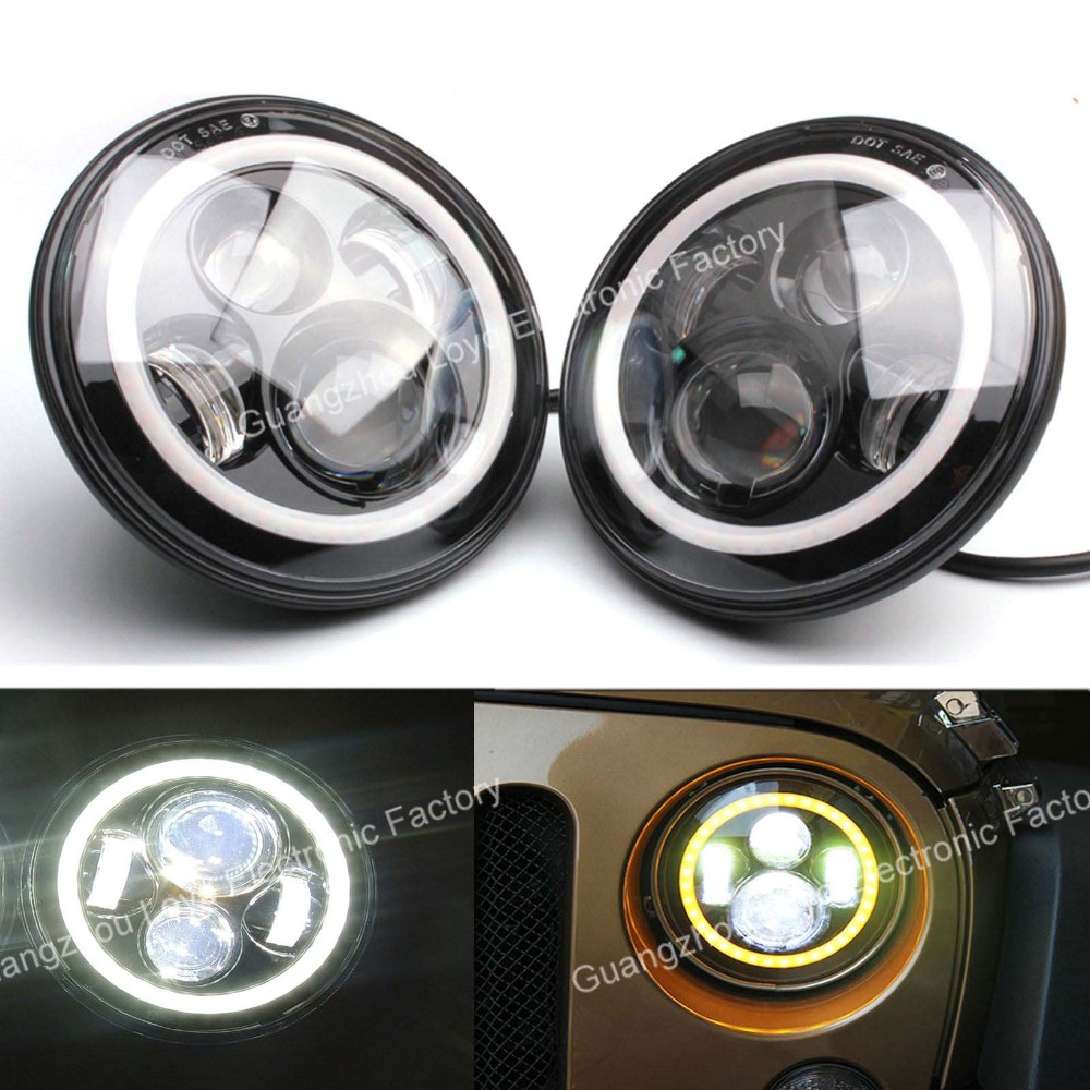 Jeep wrangler headlights 7 inch round led replacement headlight for jk tj fj hummer trucks motorcycle