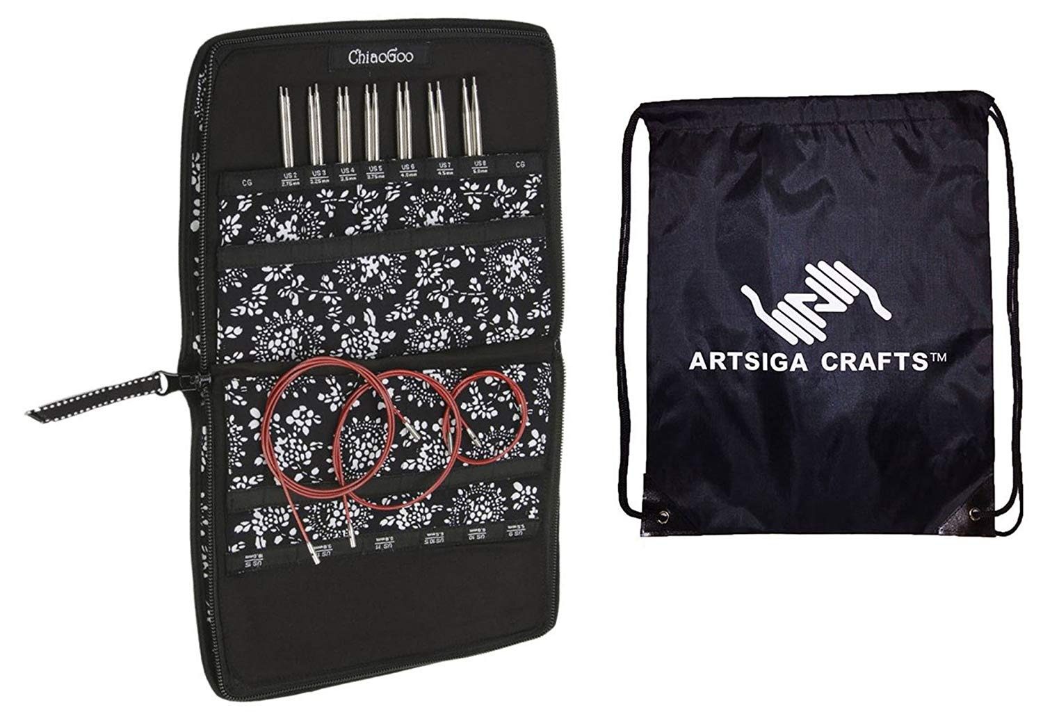 ChiaoGoo Twist Red Lace Interchangeable Knitting Needle Set Small Needles Sizes US 2 (2.75mm)-US 8 (5mm) Bundle with 1 Artsiga Crafts Project Bag 7500-S