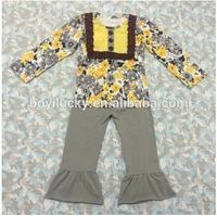 2015 autumn winter arrival!baby girls clothes long sleeve daisy printed and grey pants wholesale boutique outfits