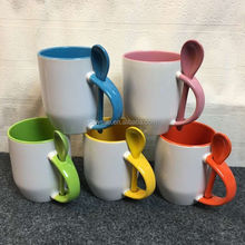 sublimation Personalized Inner color Coffee Cup 12oz Spoon insert Mug