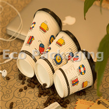 logo printed biodegradable ripple hot paper cup