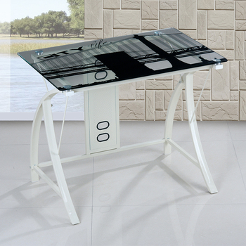 Latest tempered glass computer desk metal leg computer desk wholesale