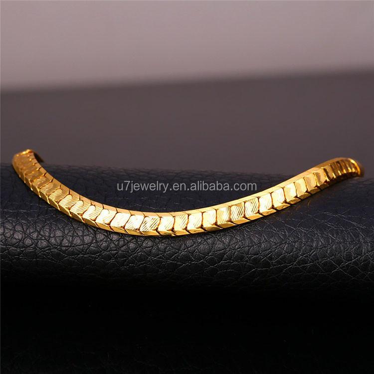 a9d7cb1ead2d U7 escala cadena pulseras para hombres joyería 18 K oro Real Chapado en  platino pulseras para