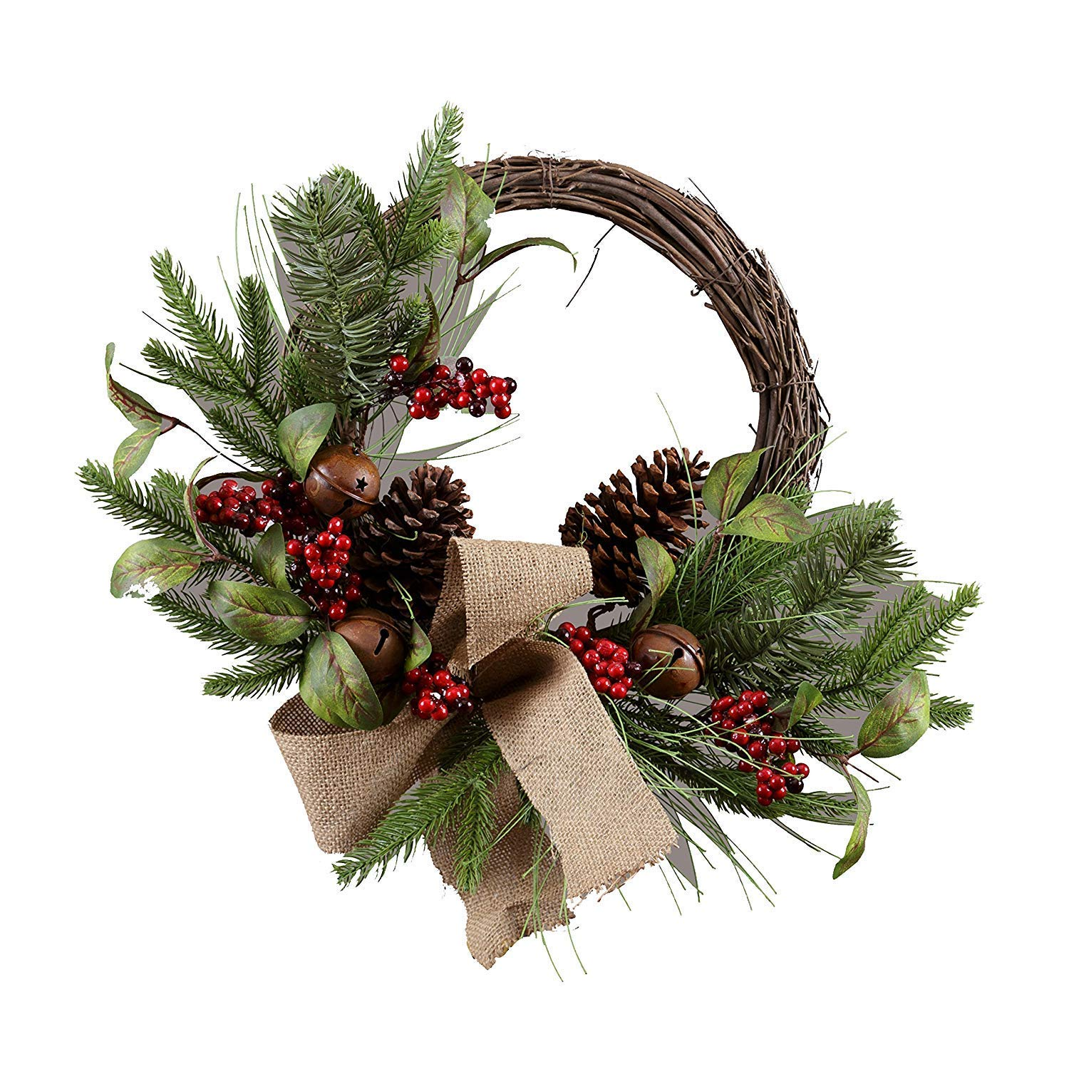 PinnacleT1 Berry Silk Fall Front Door Wreath 20inch,National Tree with Rich Fall Colors and Foliage with Bells,Approved for Covered Outdoor Use,with Beautiful Gift Box