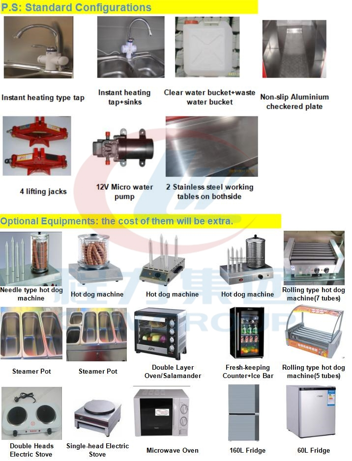 Factory Supply Mobile Street Cold Drinks BBQ Kitchen Shop Mobile Trailer Food Truck