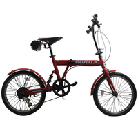 20 Inch Red Suspension Leather Saddle folding bicycle