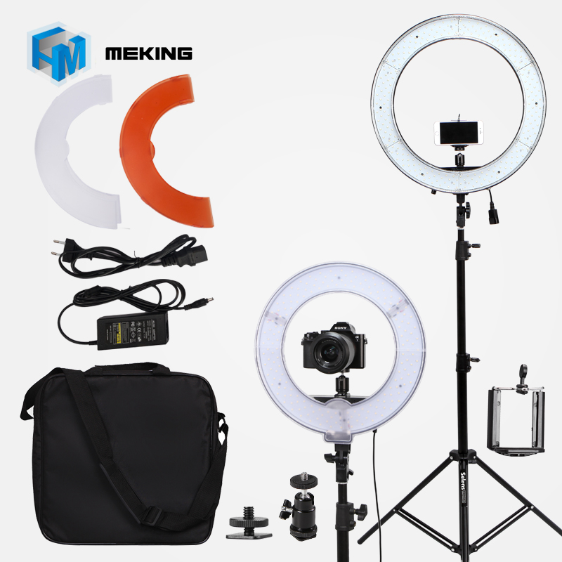 14inch Camera Photo Video 5500k Dimmable Photography 180 LED Ring Light Kit With Light Stand 2 Color Filters