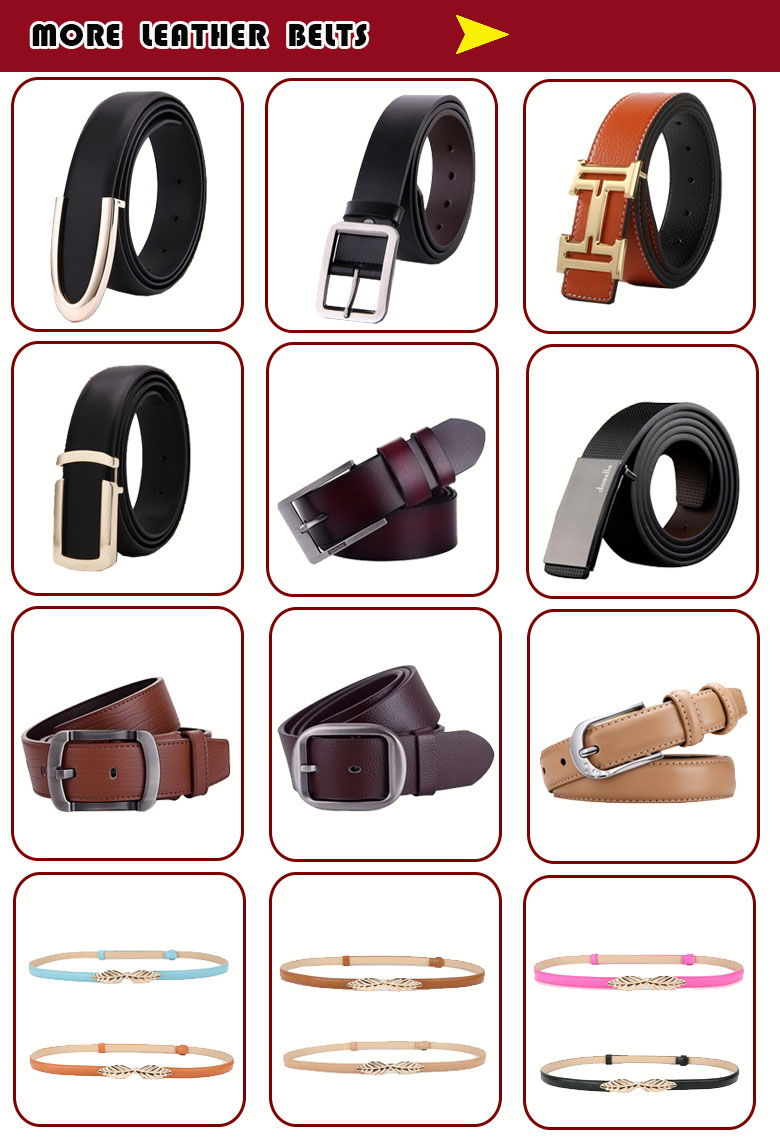 wholesale trendy genuine leather belts for men with golden buckle