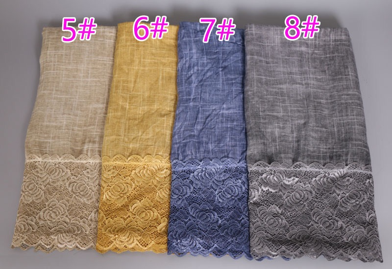 Newest Design Muslim Autumn Winter Lace Hijab Rose Pattern Cotton Scarf Tie Dye Shawl Wraps