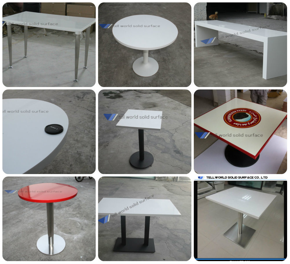 Glossy First Class Man Made Marble Korean Style Dining Table
