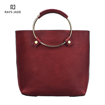 385a714d48 2018 Fashion metal ring handle tote bag women red leather handbag