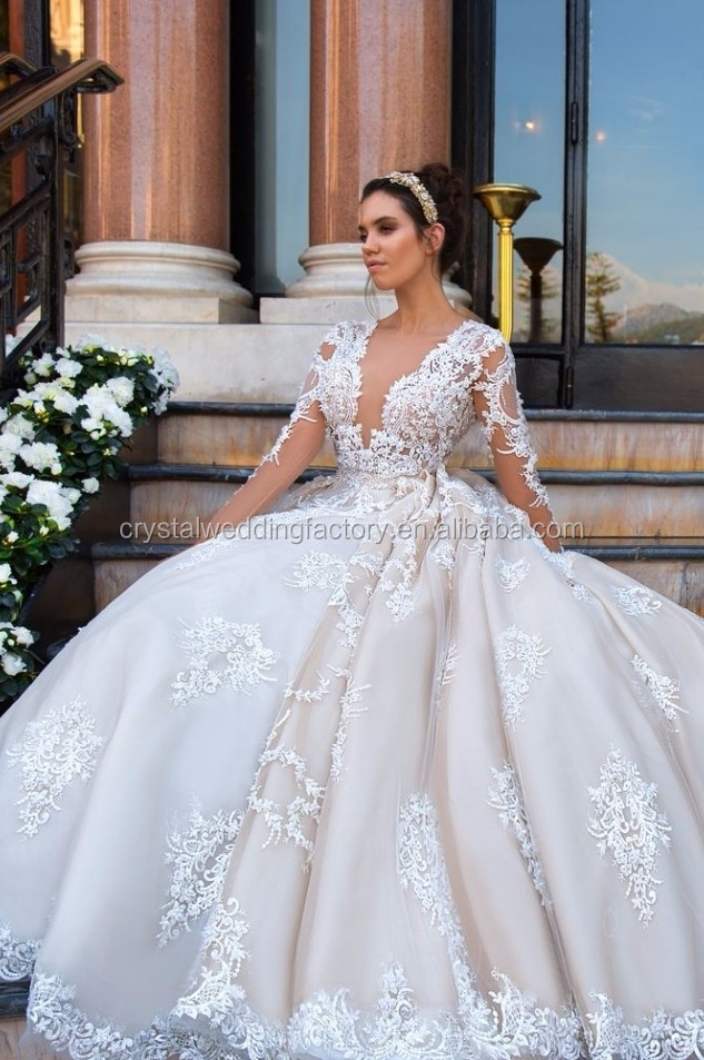 Vestido De Noiva Designer Luxury Full Pearls Wedding Dress Long ...