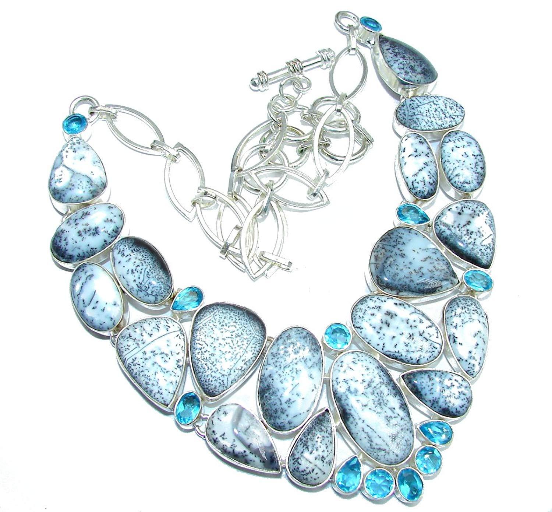 eurasia Handmade Natural Oval Shape Dendritic Agate Blue Quartz Gemstone Silver Plated Cuff Bracelet