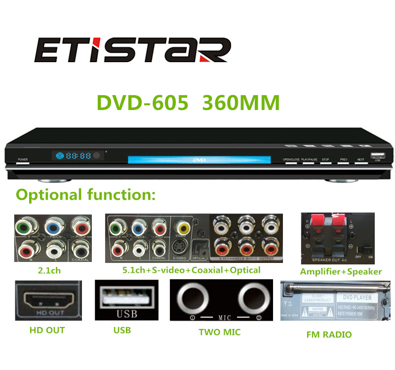 High quality dvd with USB support rmvb divx mpeg4 wma amplifier dvd player with fm