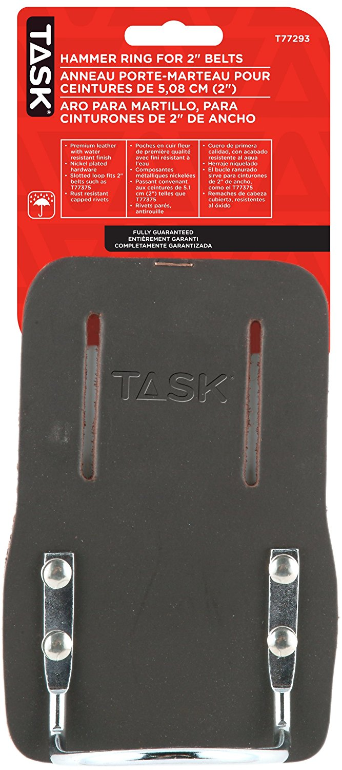 Task Tools T77293 Tradesperson's Leather Hammer Ring with Fits 2-Inch Belts