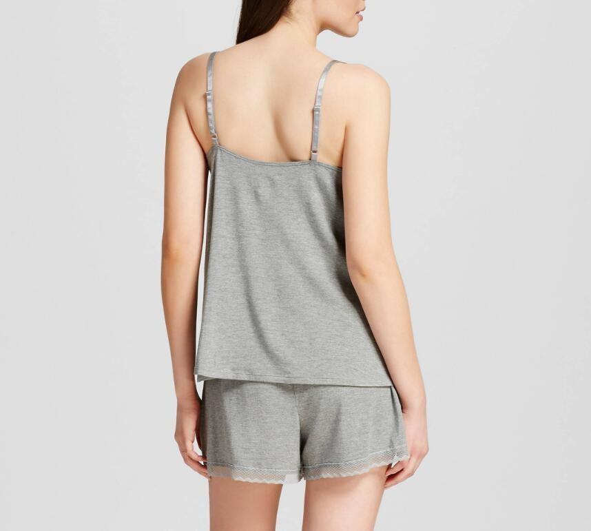 c3f977f5fe62 Hot Women Pajama Set Cotton Sleepwear Women Nightwear Grey Plain Nightgown  with Lace Trim Night clothes