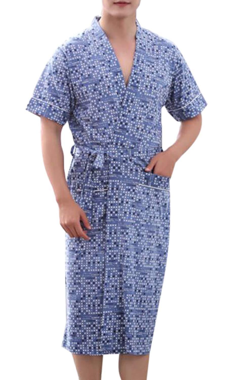 Get Quotations · BYWX-Men Lightweight Bathrobe Kimono Robe Soft Bathrobe  Nightgown Sleepwear f46ad2a9b