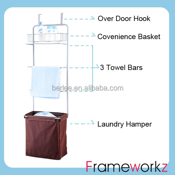 Over The Door Towel Rack Hanging With Laundry Hamper Metal Hang