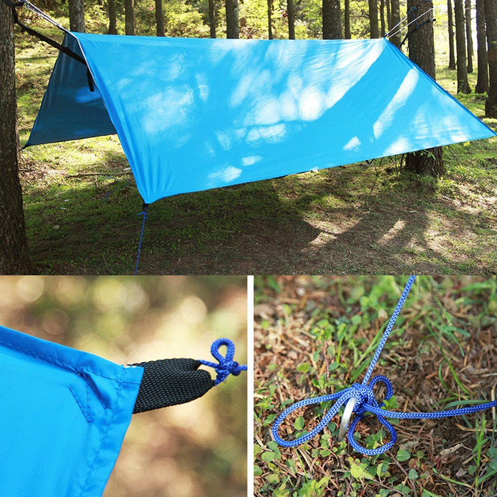 iFhome Lightweight Tent Traps Hammock Rain Tarp Fly, Waterproof Sunshade Shelter, Tent Rain Fly Tarp for Canopy Hammock Picnic Hiking Outdoors,Hammock Rain Fly Tent-Portable Waterproof Hammock Tarp