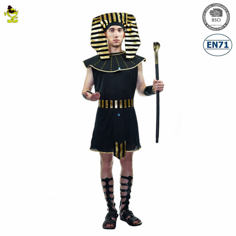 2017 do Sexo Masculino Traje Egito Faraó Com Listra Headpiece Fancy Dress Festa de Carnaval Cosplay Trajes Egípcios